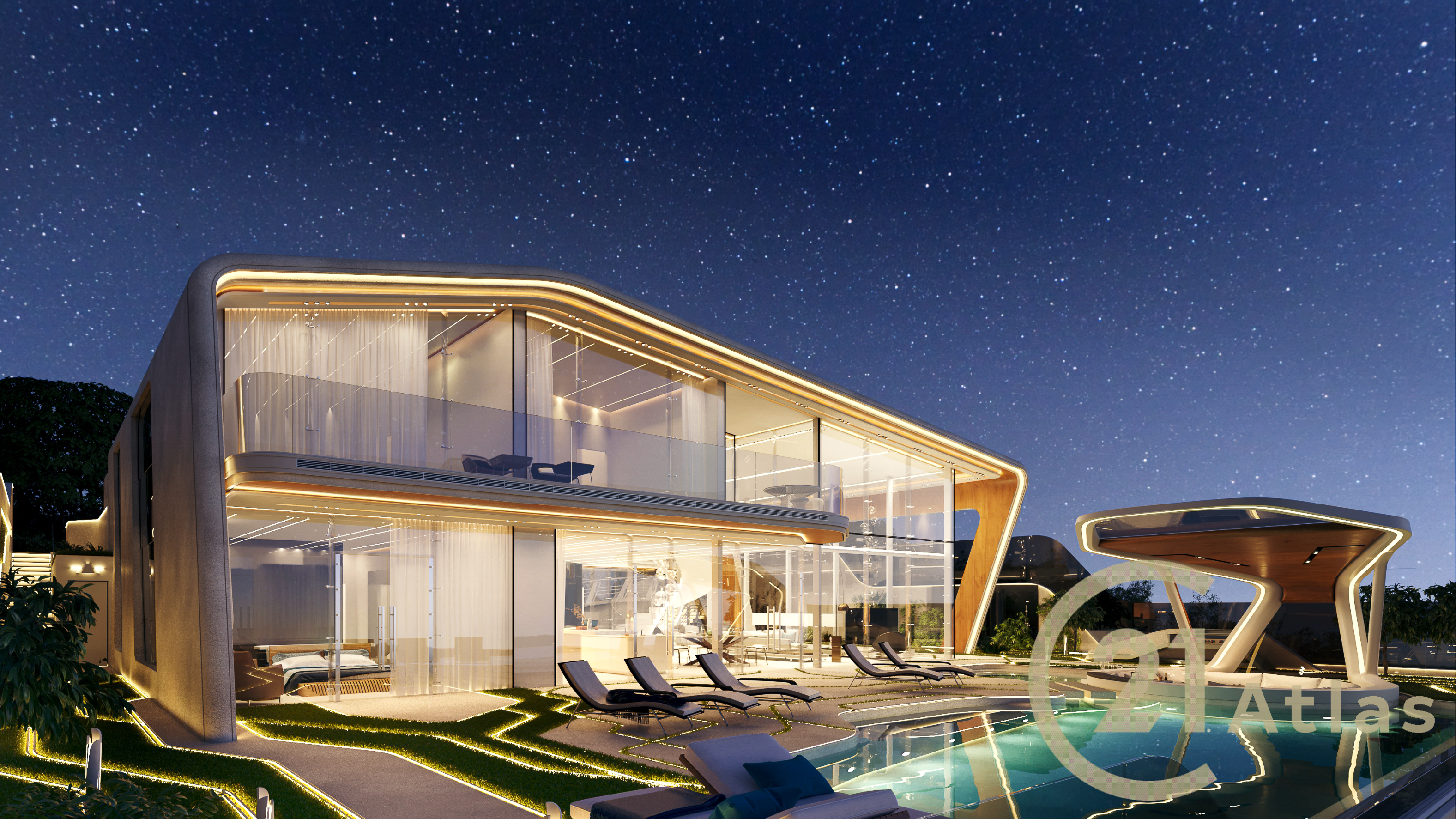 Stylish and contemporary luxury pool villa